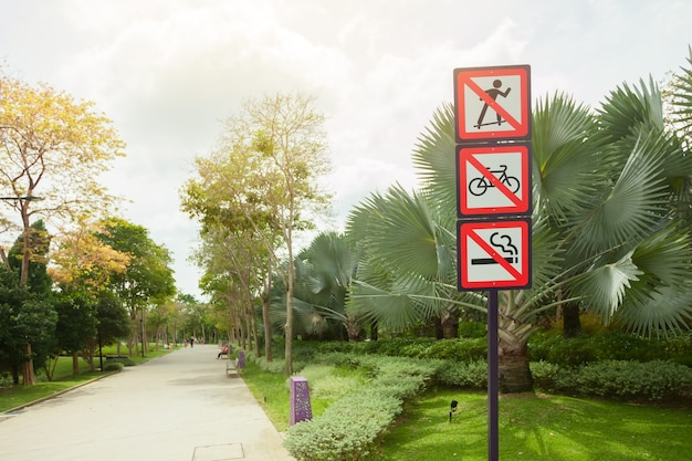Prohibiting signs in a park in singapore.