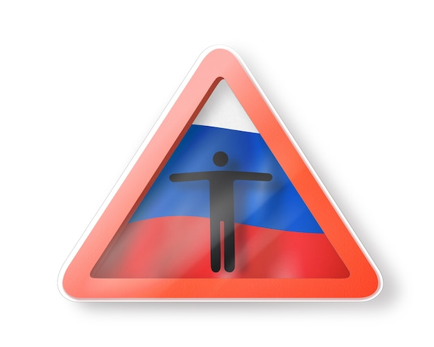 Знак запрета с фигурой черного человека на российском флаге на белом. ограничение въезда в россию. концепция карантина. 3d иллюстрации