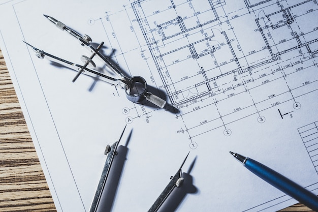 Project drawings and tools, close up
