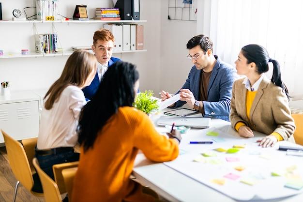 Руководители проектов и сотрудники обсуждают идеи