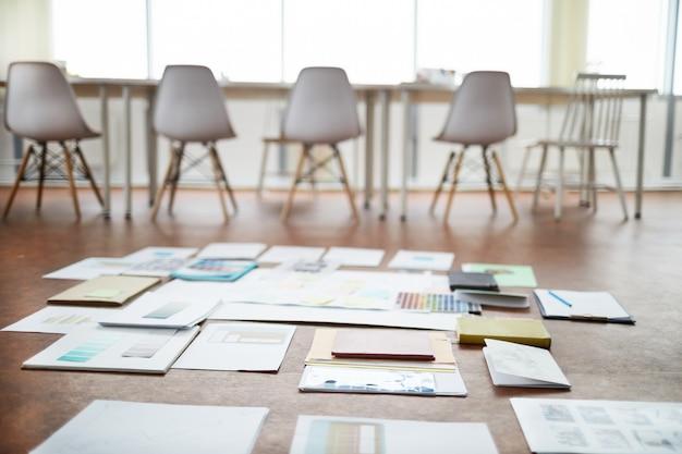 Project plan in empty office