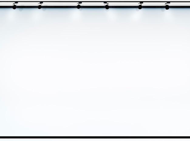 스포트라이트가있는 복사 공간의 프로젝션 스크린