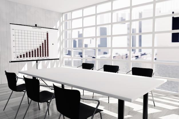 Проекционный экран, стол и стулья в офисной комнате. 3d рендеринг