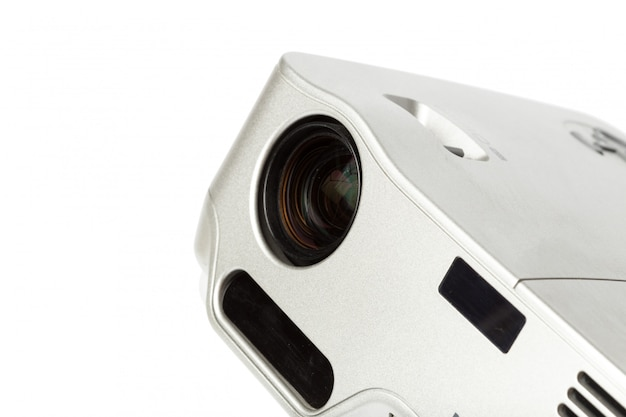 Projector multimedia silver colour on white