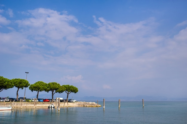 The promenade and pier in sirmione on lake garda.italy.tuscany.