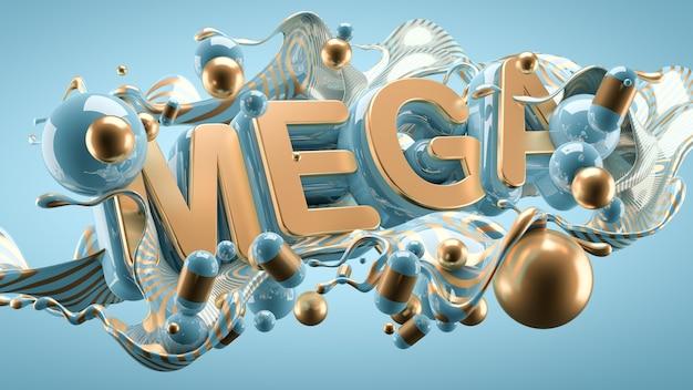 大セールとメガディスカウントのプロモーションポスター。抽象的なモダンな背景。 3dイラスト