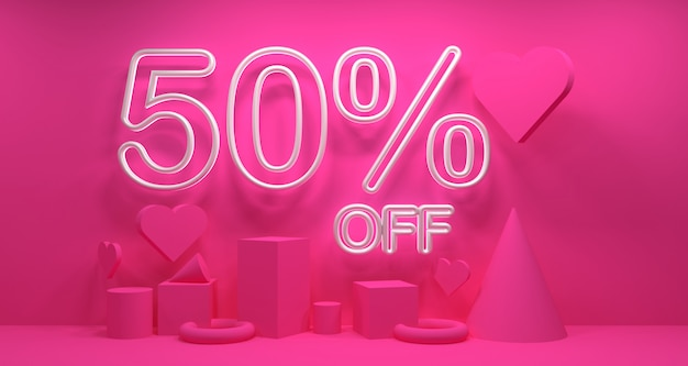 Promo valentine day sale banner background. geometry 3d rendering.