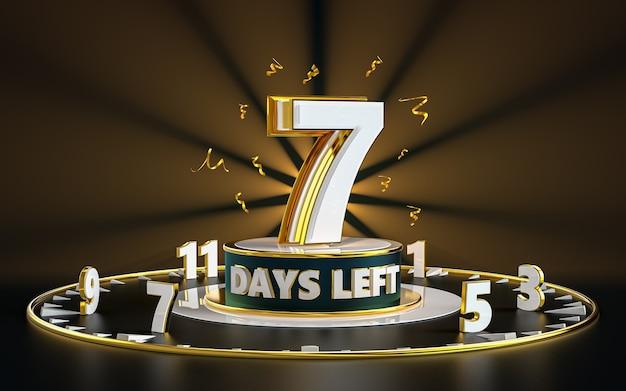 Promotional number of days left sign symbol design spotlight and gold background 3d rendering