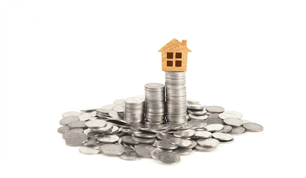Property investment and house mortgage financial conceptmoney coin stack