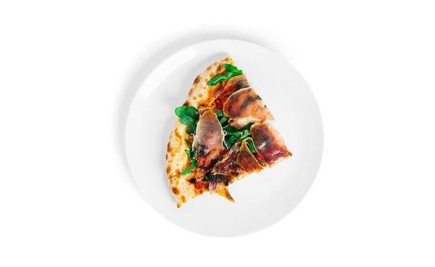 Prosciutto di parma pizza isolated. pizza with parma ham. jamon. italian cuisine. .