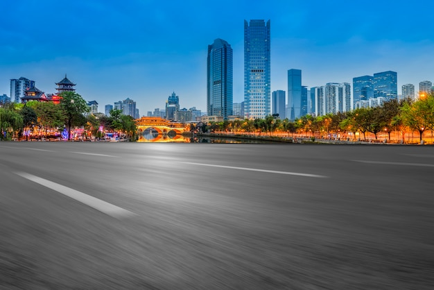 Prospect of expressway asphalt pavement in chengdu urban architectural landscape