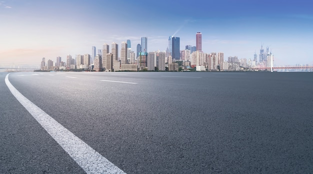 Prospects for expressway, asphalt pavement, city building commercial building