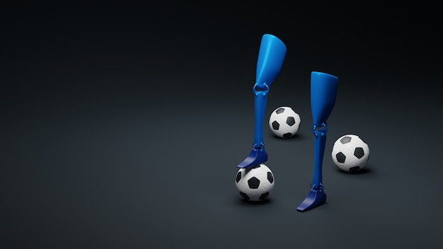 Prosthetic leg with a ball background. concept international day of disabled persons.