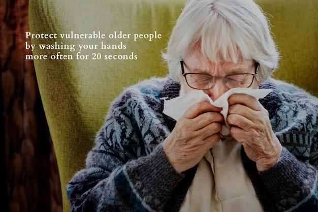 Proteggi gli anziani con il distanziamento fisico. questa immagine fa parte della nostra collaborazione con il team di scienze comportamentali di hill+knowlton strategies per rivelare quali messaggi di covid-19 risuonano meglio con il