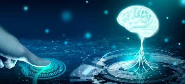 生体認証セキュリティで知的財産を保護します。人間の脳が光る電球の収束点。知的財産保護または特許アイデア保護の概念。 3dレンダリング。