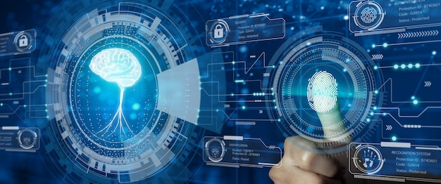 Protect intellectual property with biometric security. converging technology with glowing human brain hologram. intellectual property protection or patent idea protection concept.