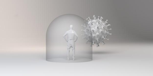 바이러스로부터 유리 거품으로 보호된 사람. 3d 그림입니다.