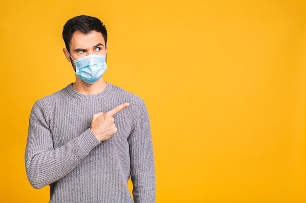 Защита от инфекционных заболеваний, коронавируса, covid-19. человек в гигиенической маске для предотвращения инфекции