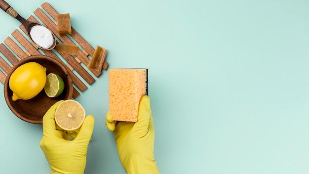 Guanti di protezione e prodotti per la pulizia della casa ecologici