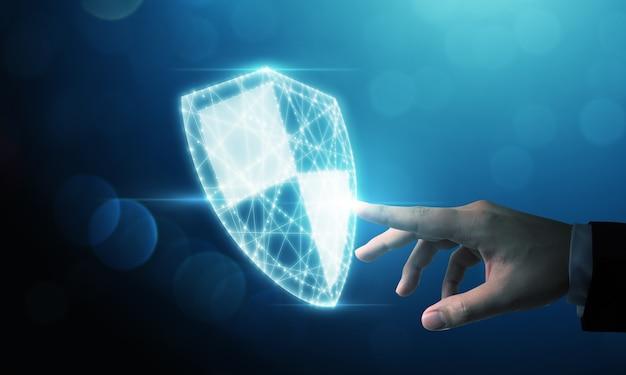 Компьютер защиты сети кибербезопасности и концепция безопасности ваших данных