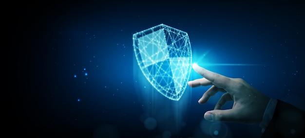 保護ネットワークサイバーセキュリティコンピューターと安全なデータの概念