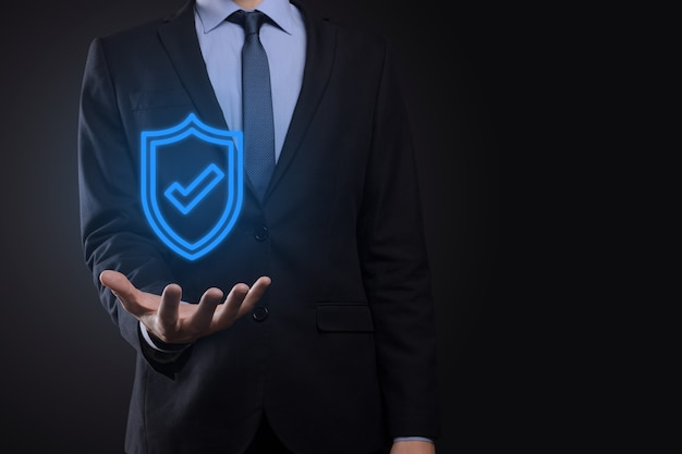 Protection network security in the hands of a businessman