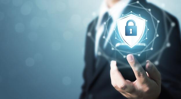 保護ネットワークセキュリティ携帯電話と安全なデータの概念