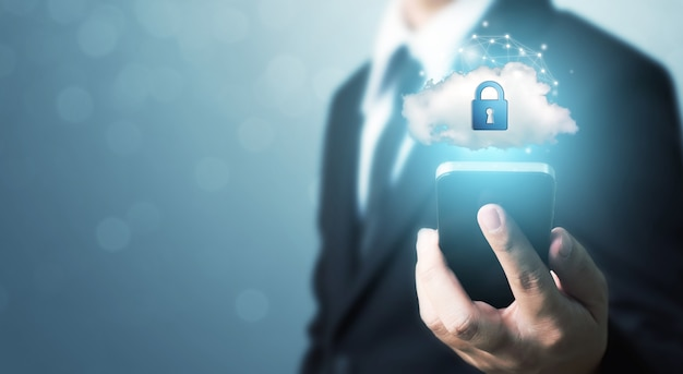 Protection network security mobile smart phone and safe your data concept