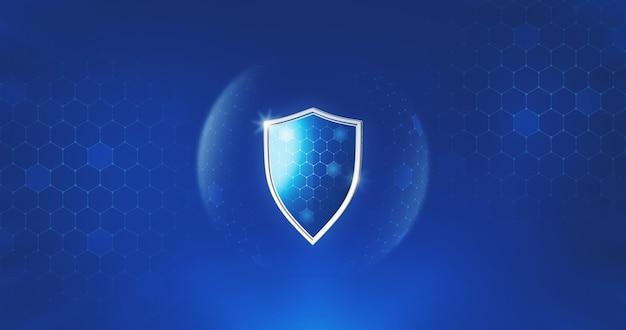 Защитный безопасный щит или защита от вирусов защитника на безопасном фоне с медицинской концепцией страхования. 3d-рендеринг.