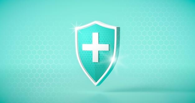 흰색 의료 십자가와 안전한 배경에 보호 안전 방패 또는 안전 가드 바이러스 방어. 3d 렌더링.