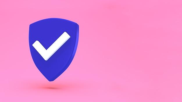 Минимальная концепция защиты щит. значок проверки безопасности.