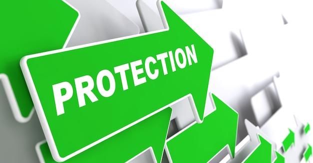 保護テキスト灰色の背景に緑色の矢印
