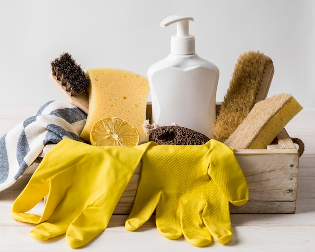 Protection yellow gloves and eco products