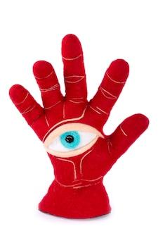 Защитный оберег в виде раскрытой ладони и глазка из валяной шерсти.