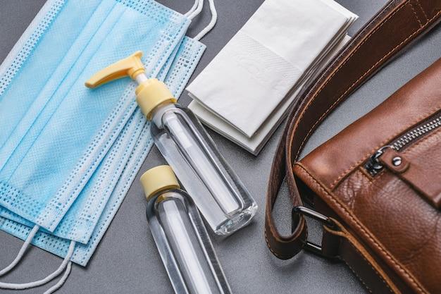 Средства защиты, медицинские маски, антисептик во флаконах, салфетки бактерицидные.
