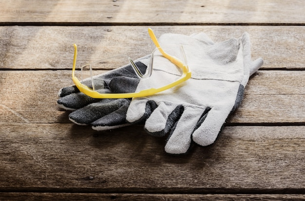 Protective gloves, goggles , standard construction safety equipment