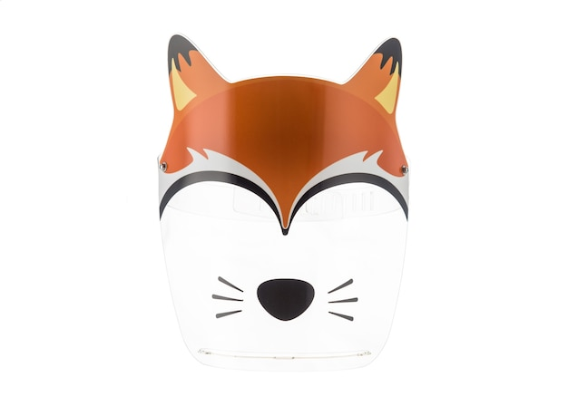 Protective mask with drawings of animals from the virus for children. isolated