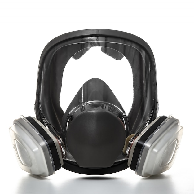 Protective mask with filters, professional protection with wide visibility.