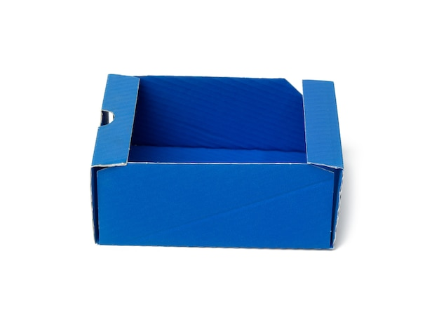 Protective paper from under a box with a perfume, template from blue corrugated cardboard, white background