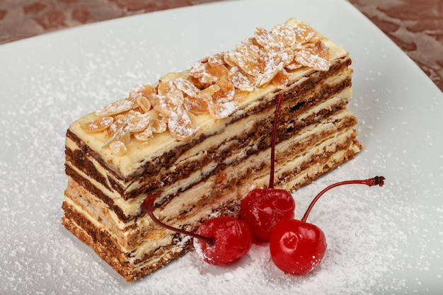 Protein-nut cake with cherries