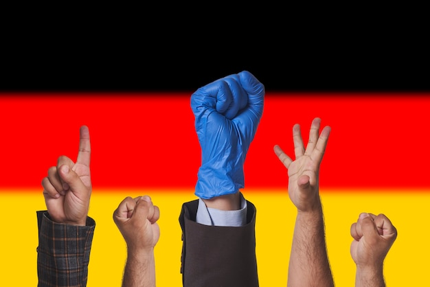 Protests in germany workers trade unions protesting against new rules new laws in germany hand of pr...