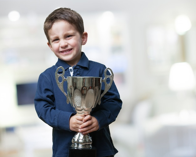 Proud child with his prize