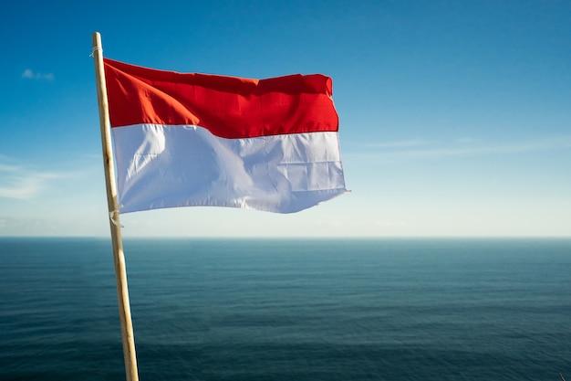 Гордый индонезийский мужчина на пляжной скале поднимает красно-белый флаг индонезии