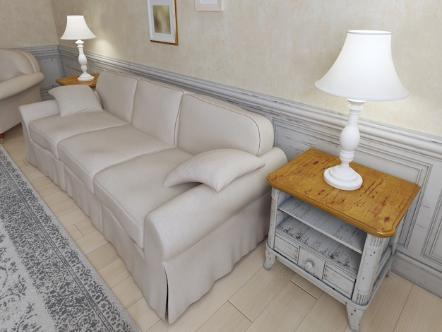 Provence interior with sofa and luxury furniture and plaster textured walls.