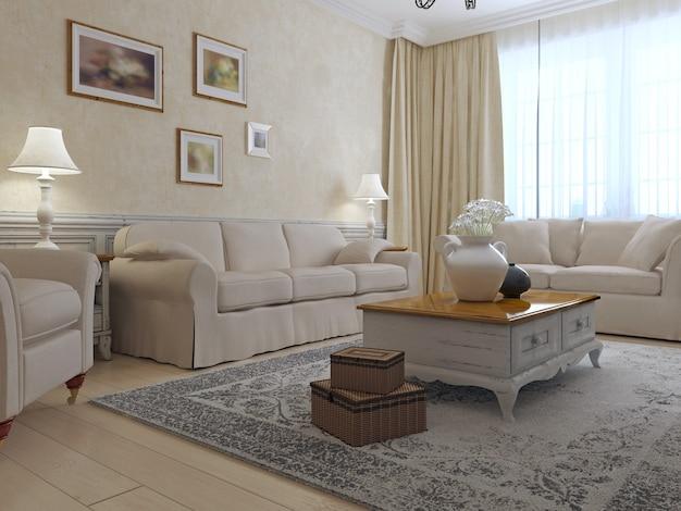 프로방스 라운지 인테리어는 2 개의 소파와 안락 의자가있는 전용 낮은 테이블 주위에 회 반죽 벽이있는 방에 밝은 광택 조리대가 있습니다.