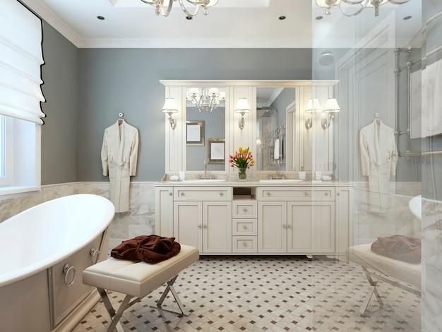 灰色の壁と白い家具を備えたプロヴァンススタイルのバスルームのインテリア
