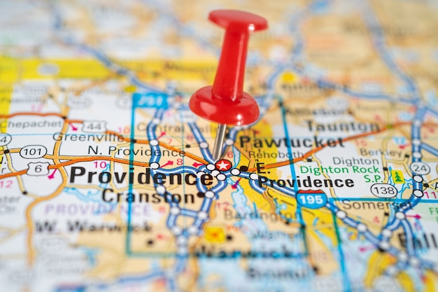 Providence, rhode island, road map with red pushpin.