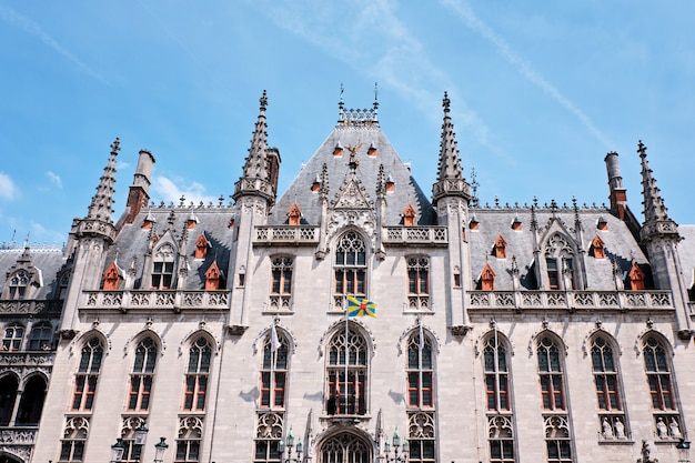 Provincial court of bruges in market square in bruges belgium