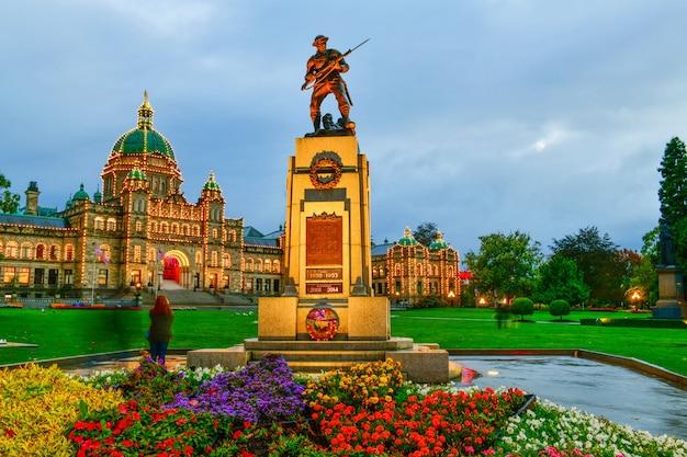 Provincial parliament in victoria at twilight time british columbiacanada