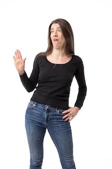 挑発的な女性は何かを拒否します
